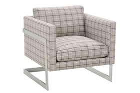"Fabric Upholstered Accent Chairs And Chaise Nadia ""Designer Style"" Chrome Modern Accent Chair"
