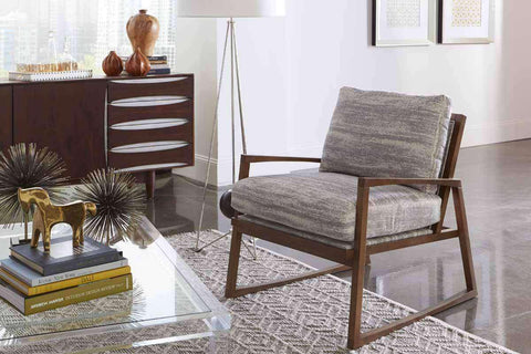 "Fabric Upholstered Accent Chairs And Chaise Talia ""Designer Style"" Mid Century Exposed Wood Accent Chair"