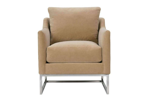 "Fabric Upholstered Accent Chairs And Chaise Tonya Chrome ""Designer Style"" Fabric Chair With Exposed Chrome Metal Frame"