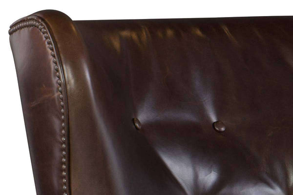 "Farrow Event ""Quick Ship"" Leather Wingback Accent Chair With Button Back"
