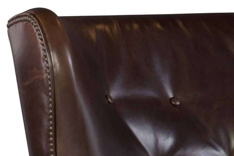 "Farrow Event ""Quick Ship"" Leather Wingback Accent Chair With Button Back - OUT OF STOCK UNTIL 1/30/20"
