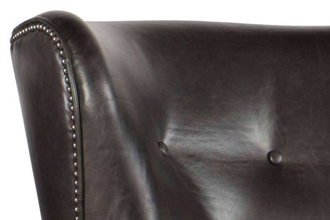 "Farrow Medal ""Quick Ship"" Leather Button Wingback Accent Chair"