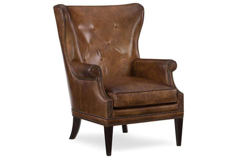 "Farrow Pawn ""Quick Ship Light Leather Button Wingback Accent Chair"