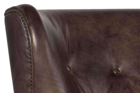 "Farrow Trade ""Quick Ship"" Tall Leg Button Back Leather Accent Chair"
