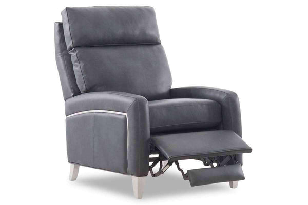Fenwick Modern Leather And Metal Recliner Chair With Metal Legs
