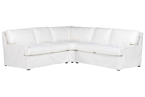 Flynn Modern 3 Piece Slipcovered Sectional Sofa (As Configured)