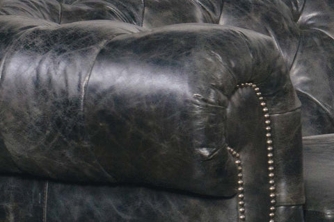 "Forrester ""Quick Ship"" Traditional Chesterfield Top Grain Curved Leather Sectional"