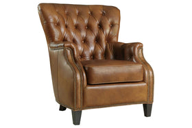 "Gallagher ""Quick Ship"" Traditional Tufted Back Leather Accent Chair With Nail Trim OUT OF STOCK UNTIL 2/20/20"