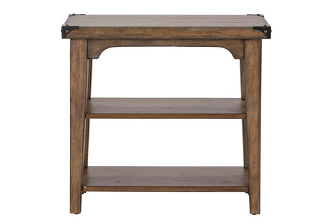 Gannon Rustic Weathered Brown Chair Side Table With Two Storage Shelves