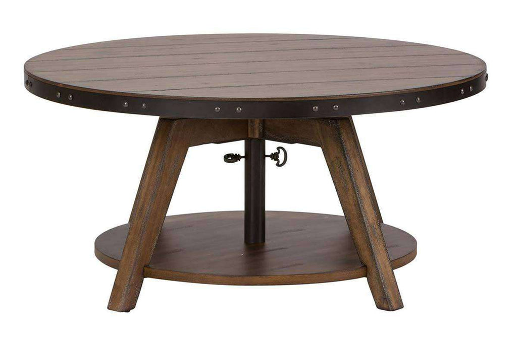 Magnificent Gannon Circular Motion Coffee Table With Plank Top Metal Accents And Storage Shelf Short Links Chair Design For Home Short Linksinfo