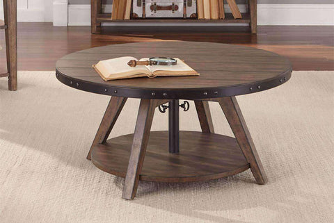 Gannon Circular Motion Coffee Table With Plank Top, Metal Accents And Storage Shelf