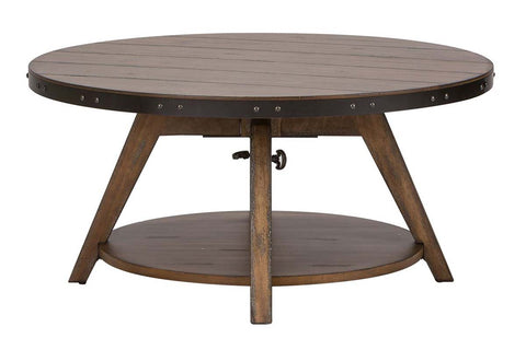 Gannon Rustic Weathered Brown Circular Motion Coffee Table With Plank Top