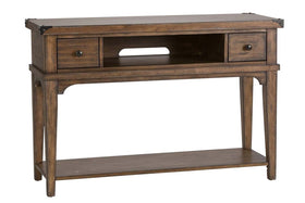 Gannon Rustic Weathered Brown Double Drawer Plank Top Sofa Table With Shelf