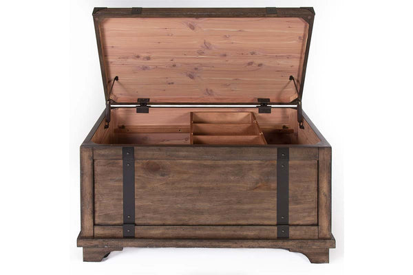 Gannon Rustic Weathered Brown Cedar Lined Storage Trunk Coffee Table