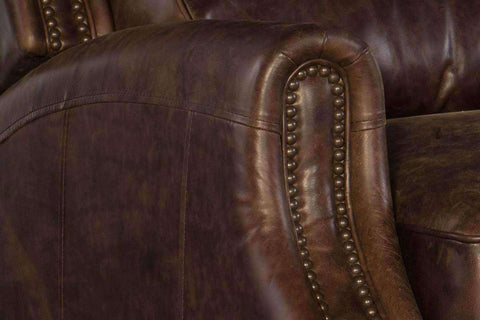 "Garfield Dual Power ""Quick Ship"" Bustle Back Leather Recliner With Power Headrest"