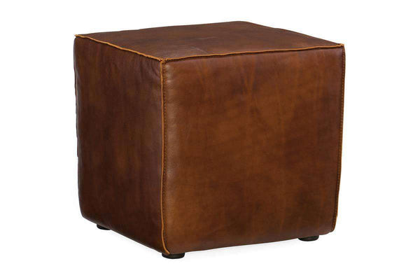"Gary ""Quick Ship"" 18 Inch Square Leather Side Table Single Seat End Table Cube"