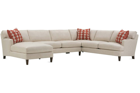 Georgina 3 Piece Fabric Sectional With Chaise (As Configured)
