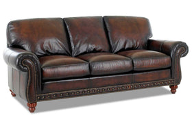 Gerard 93 Inch Traditional Old World Leather Sofa