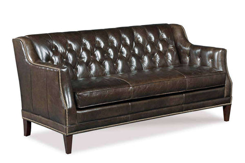 "Gerhardt ""Quick Ship"" Apartment Size Tufted Leather Track Arm Sofa With Nails"