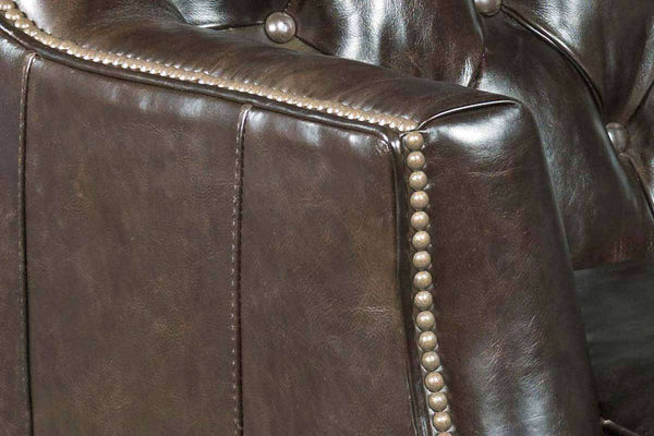 "Gerhardt 71 Inch ""Quick Ship"" Apartment Size Tufted Leather Track Arm Sofa With Nails"