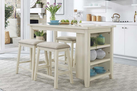 Glenwood Small Spaces White 5 Piece Counter Height Bookshelf Dining Set With Four Linen Upholstered Stools