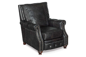 "Gordon Black ""Quick Ship"" Classic Leather Recliner  With Tufting Details"
