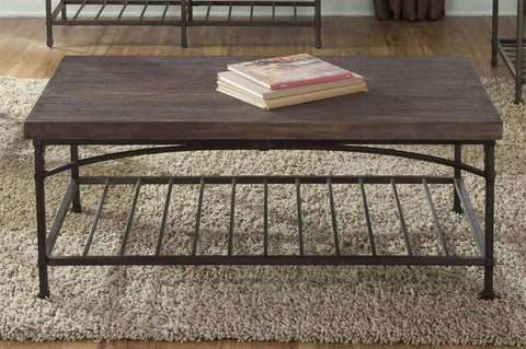 Halstrom Metal Base Coffee Table With Oak Veneer Plank Top