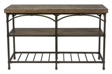Halstrom Industrial Style Wood And Metal Sofa Table With Dark Oak Top And Two Shelves