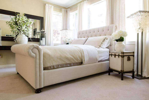 "Upholstered Bed Hamilton ""Ready To Ship"" Fabric Upholstered Chesterfield Tufted Style Bed"