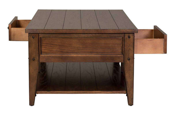 Terrific Harding Rectangular Plank Top Coffee Table With Two Drawers And Shelf Short Links Chair Design For Home Short Linksinfo