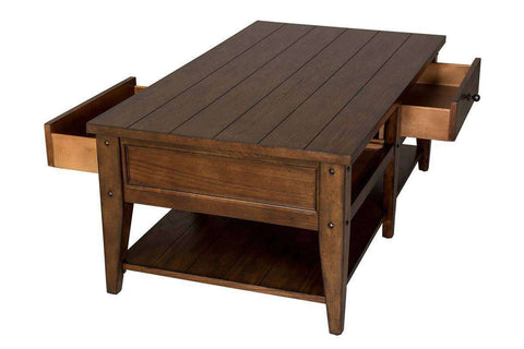 Harding Rectangular Plank Top Coffee Table With Two Drawers And Shelf