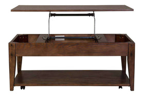 Harding Lift Top Plank Top Rectangular Coffee Table With Storage Shelf