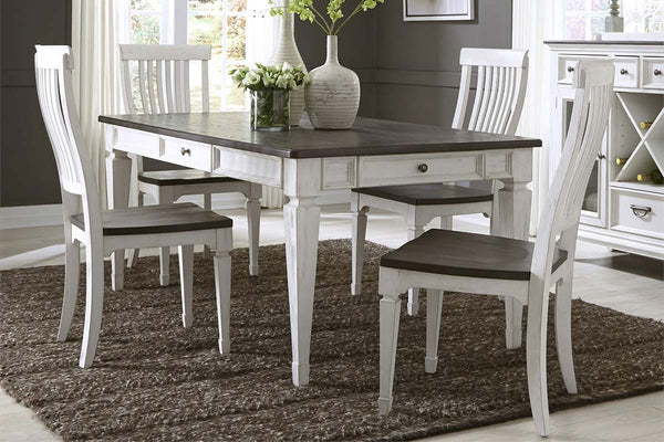 Harper Vintage White With Charcoal Top 5 Piece Rectangular Leg Table Dining Set