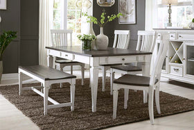Harper Vintage White With Charcoal Top 6 Piece Rectangular Leg Table Dining Set With Bench
