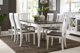 Harper Vintage White With Charcoal Top 7 Piece Rectangular Leg Table Dining Set