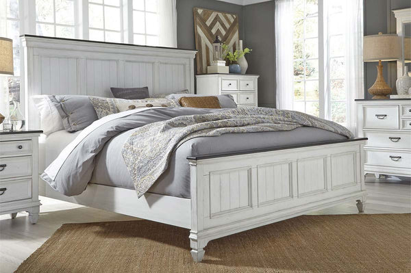 "Harper Queen Or King Wirebrushed White Panel Bed ""Create Your Own Bedroom"" Collection"