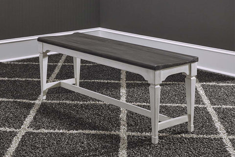 Harper Vintage White With Charcoal Top 3 Piece Dining Bench Table Set