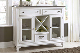 Harper Vintage White With Charcoal Top Glass Door Storage Buffet