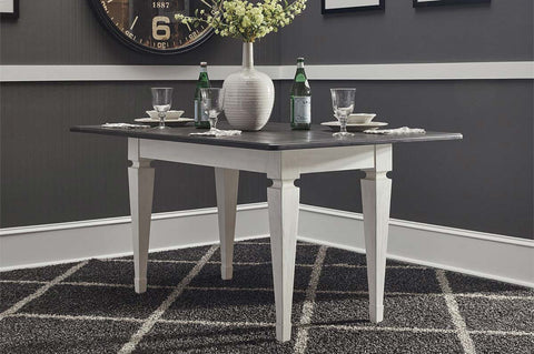 Harper Vintage White With Charcoal Top 5 Piece Corner Dining Nook Table Set With Bench