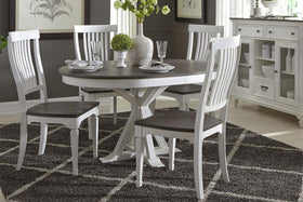 Harper Vintage White With Charcoal Top 5 Piece Round Oval Pedestal Dining Set