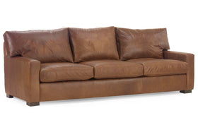 "Harrison ""Designer Style"" Oversized Contemporary Track Arm Leather Sofa Collection"