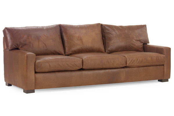 Harrison 87 Inch Contemporary Grand Scale Deep Seat Leather Sofa