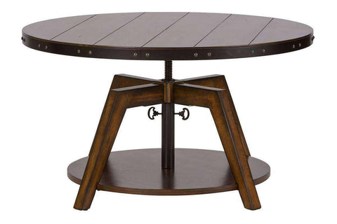Harwood Round Motion Top Rustic Coffee Table With Metal Accents, Banding And Shelf