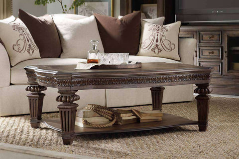 Living Room Furniture Coffee Tables Hathaway Traditional Wood Coffee Table With Shelf And Ornate Legs