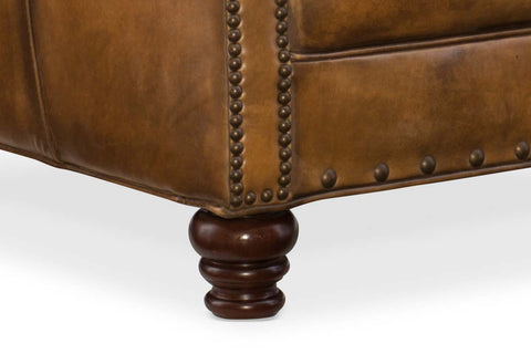 "Herbert Bedford Goldington ""Quick Ship"" Traditional Tight Back Leather Accent Chair With Nail Trim"