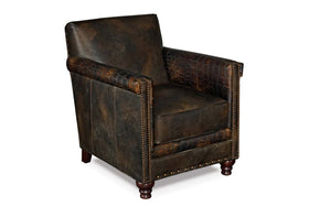 "Herbert Old Saddle Brown Fudge ""Quick Ship"" Tight Back Square Leather Accent Chair With Nails"
