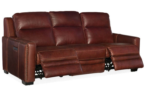 "Herman Bruciato 85 Inch ""Quick Ship"" Wall Hugger 3-Way Power Leather Reclining Sofa"