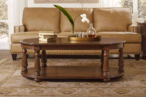 Living Room Furniture Coffee Tables Highland Traditional Swirl Mahogany Coffee Table With Shelf
