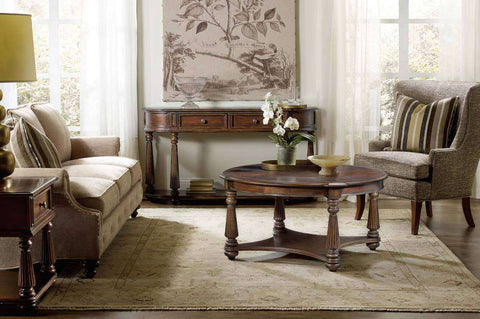 Living Room Furniture Coffee Tables Highland Circular Swirl Mahogany Cocktail Table With Storage Shelf