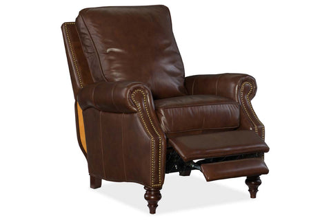 "Horatio Davenport ""Quick Ship"" Traditional Nailhead Leather Recliner"
